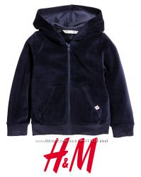 Велюрова кофта з капюшоном для дівчат 2-10 років від H&M Швеція