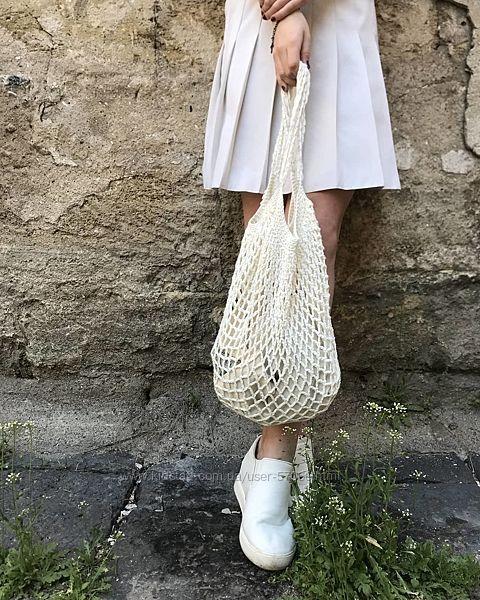 Плетеная авоська, сумка шопер, вязаная авоська, эко торба