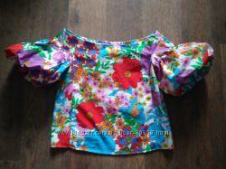 Яркая блузка с открытыми плечами H&M 36 разм