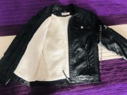 Куртка кожаная косуха утепленная  НМ на рост 7-8 лет