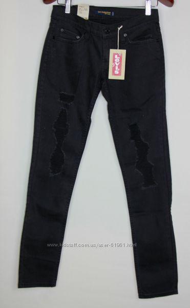 Черные дратые джинсы скинни  levis 524 skinny W27
