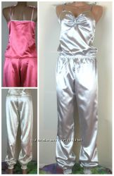 Атласная пижама кремовая розовая серая  с, м, л , хл, ххл, ххл