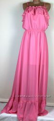 Шикарное платье  сарафан в пол нежнорозовое  хс, с,
