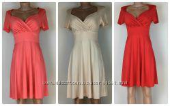 Трикотажное платье ампир персиковое красное кремовое нюдовое хс, с, м, л