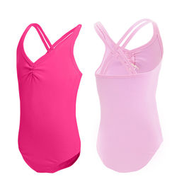 розовый малиновый купальник на бретельках для танцев с 3 до 15 лет хлопок