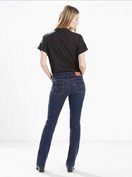 Женские джинсы LEVIS 714  синие прямые с высокой посадкой