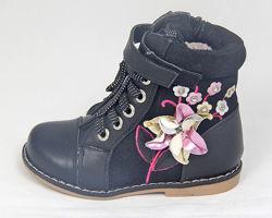 Ботинки демисезонные для девочек, кожа, размеры с 17 по 28, разные модели