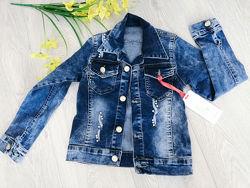 джинсовый пиджак девочке со стразами размеры 6 - 10 лет