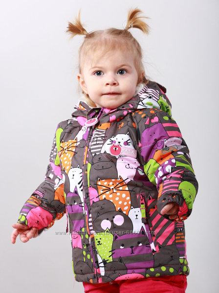 Термо куртки для малышек 80-92р Котики от ТМ Pidilidi