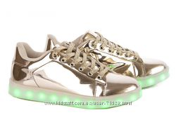 Led кроссовки с Usb кабелем 36-41р Цвет silver и gold
