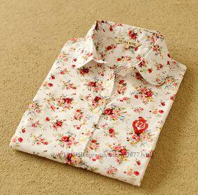 Блузки, рубашки с фламинго, вишенками,  якорьками и цветочный принт