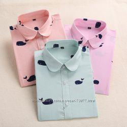 Блузки с принтом .  Десятки расцветок. Хлопок