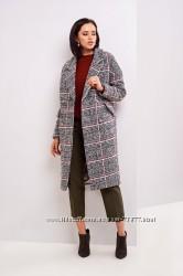 Женское полушерстяное пальто, актуальная клетка твид, 3 цвета