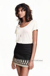 Новая юбка с вышивкой H&M, лен и хлопок