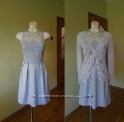 Распродажа. Нежное итальянское платье. Цвет дымчато-голубой. Есть кардиган.