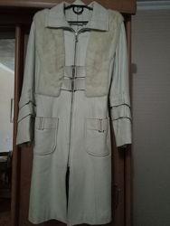Кожаное пальто с норкой р. S