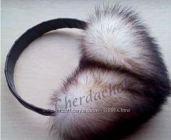 Наушники из натурального меха и резинки для волос