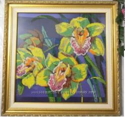 Картина бисером Орхидеи и Домик в саду
