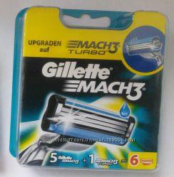 Картриджи Gillette mach3 акционная упаковка 5 плюс1 turbo оригинал немецкие