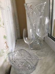 Комплект посуды, хрусталь, стекло.