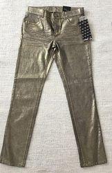 Стильные золотистые брюки - рост 158 см