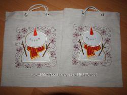 Текстильные новогодние сумки