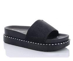 Распродажа  Чёрные женские шлёпки 070