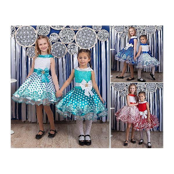 Нарядное платье в горох 3 размера 6 цветов 4-10 лет Украина