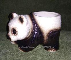 Керамическое кашпо панда вазон для цветов мишка керамика горшок