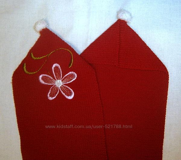 Вязаный алый красный шарфик шарф теплый