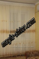 Тюль молочный лен с золотой вышивкой
