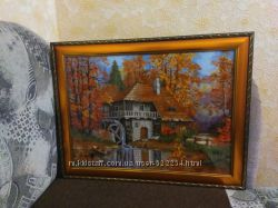 Картина крестиком  мельница в лесу