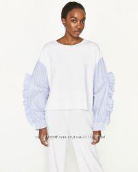 Комбинированный пуловер с рюшами ZARA, S