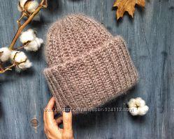 Объемные вязаные шапочки с двойным отворотом