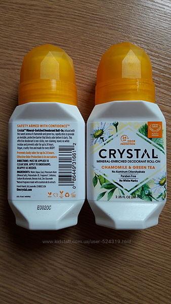 Натуральный дезодорант Crystal, роликовый, Ромашка и Зеленый чай 66 мл