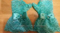 Нарядные ажурные перчатки-митенки для девочек Желто-зеленые