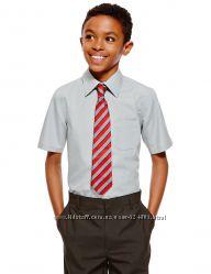 Серая школьная рубашка marks&spenser англия на 14-15 лет с коротким рукавом