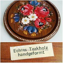 Тарелка-панно, Бавария, сер. ХХв, дерево-тик, роспись