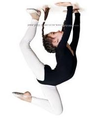 Купальник гимнастический черный, белый, хлопок