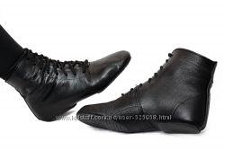 Джазовки кожаные высокие черные