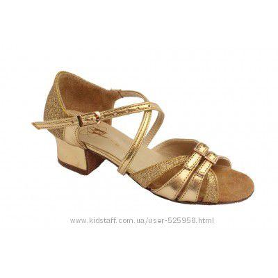 Танцевальные туфли для девочек золотые Б2 а