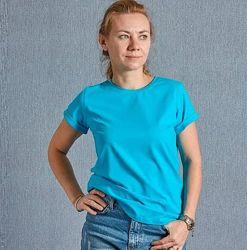Голубая женская футболка с манжетом