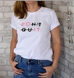 Белая футболка с надписью женская DO IT