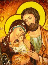 Икона из янтаря рукописная Святая Семья ручная работа