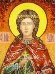Святая Юлия именная икона из янтаря ікона з бурштину