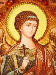 Икона из янтаря Ангел Хранитель для мужчин