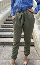 Легкие летние женские брюки, штаны, укороченные брючки, цвет хаки и сирень