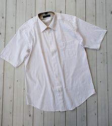 Уценка, мужская рубашка белого цвета с коротким рукавом, см. описание