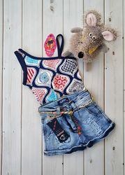 Модные джинсовые шорты для девочки и Майка в Подарок, Турция