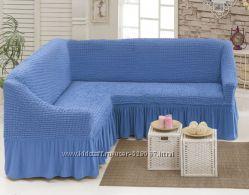 Натяжной чехол для углового дивана